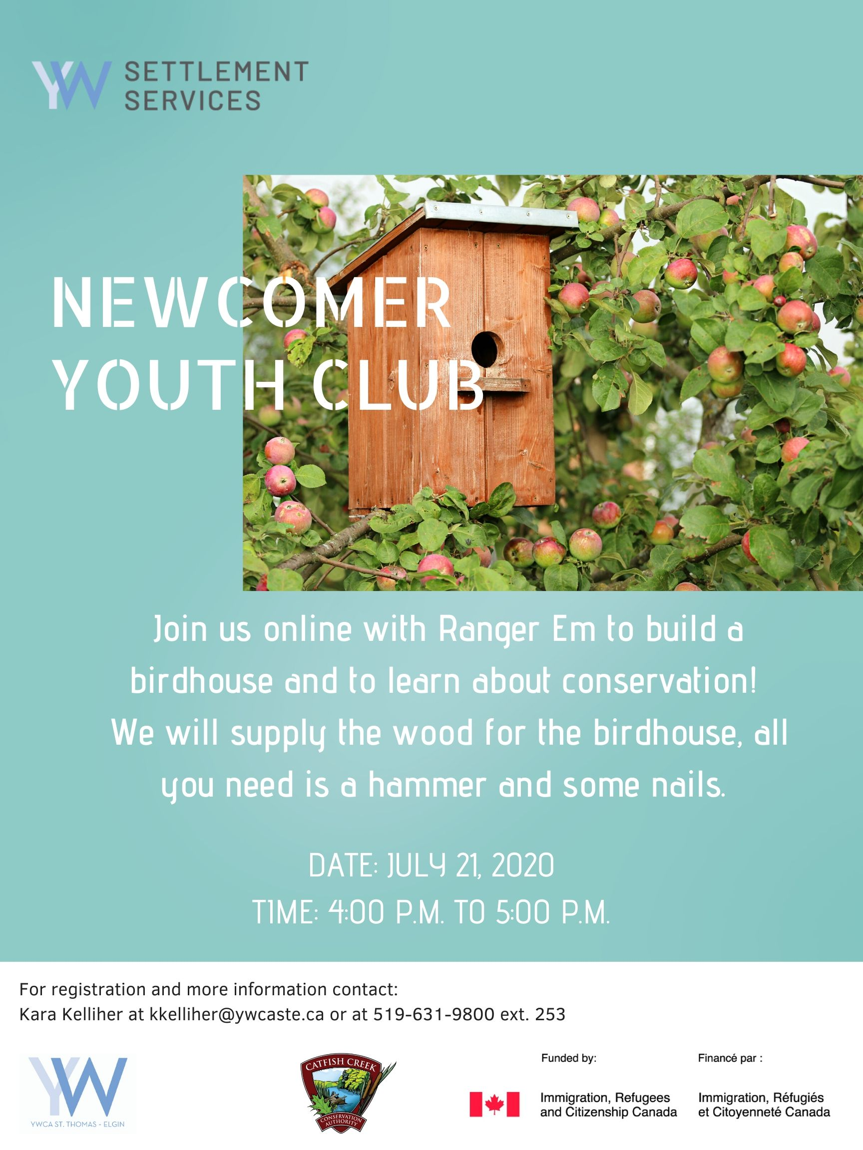 Newcomer youth club poster for July